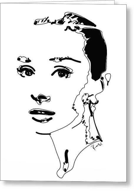 Andrey Greeting Cards - Audrey Hepburn Greeting Card by Rabi Khan