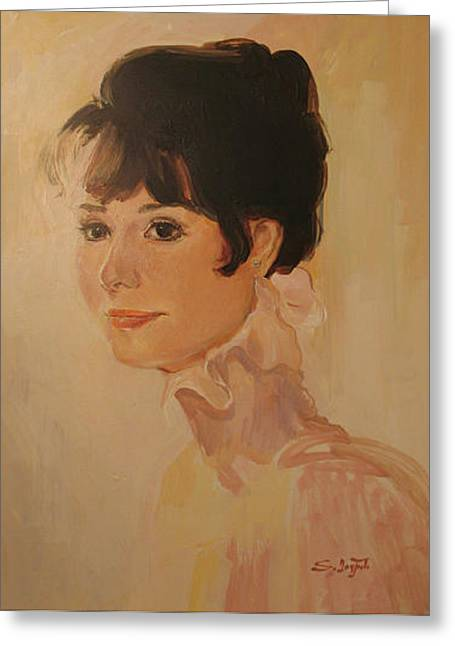 Family Portrait Greeting Cards - Audrey Hepburn Greeting Card by Tigran Ghulyan