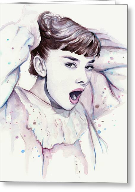 Audrey - Purple Scream Greeting Card by Olga Shvartsur