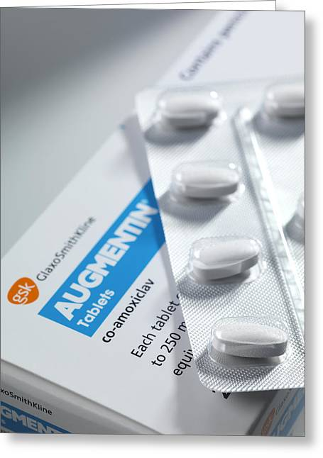 Infection Greeting Cards - Augmentin Antibiotic Pills Greeting Card by Tek Image