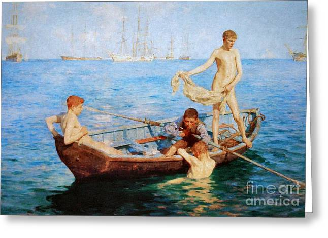 Tuke Greeting Cards - August Blue  Greeting Card by Pg Reproductions