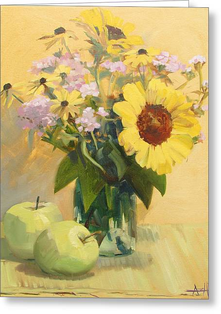 August Flowers With Apples Greeting Card by Azhir Fine Art