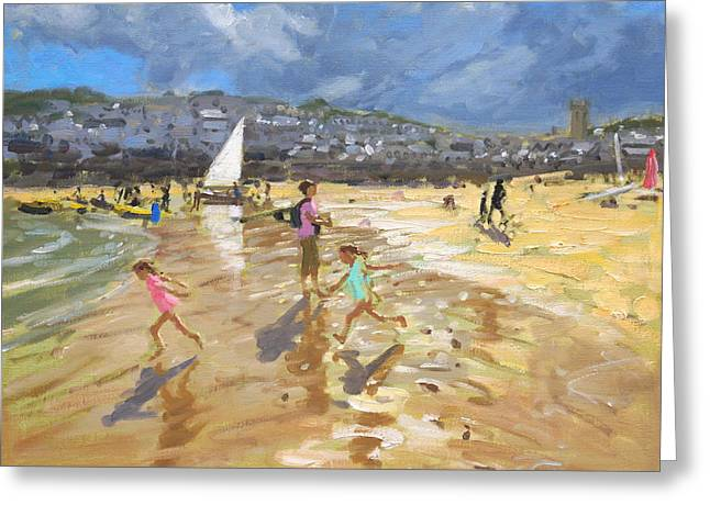 On The Beach Greeting Cards - August in St Ives Greeting Card by Andrew Macara