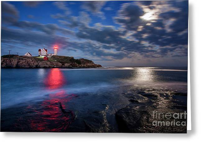 Cape Neddick Lighthouse Greeting Cards - August Moon Greeting Card by Scott Thorp