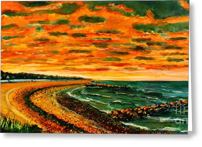 Falmouth Massachusetts Greeting Cards - August Sunrise In Falmouth Heights Greeting Card by Rita Brown