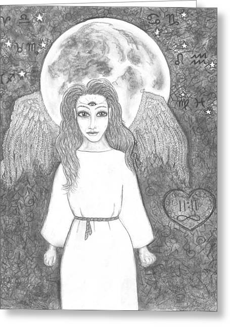 Super Stars Drawings Greeting Cards - August Super Moon           Esoteric Angel 2015 Greeting Card by Wendy Wunstell