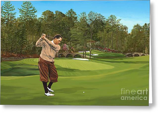 Augusta National Golf Club Greeting Cards - Augusta 11 and 12th hole BobbyJones Greeting Card by Tim Gilliland