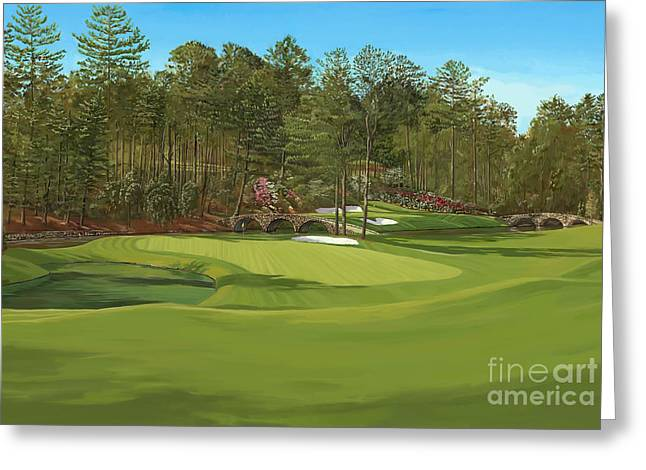 Augusta National Golf Club Greeting Cards - Augusta 11 and12th hole Greeting Card by Tim Gilliland