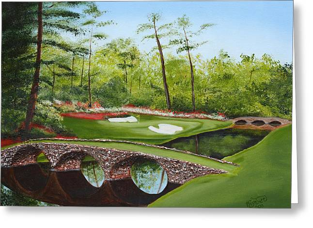 Florida Bridge Paintings Greeting Cards - Augusta Golf Course Greeting Card by Kimber  Butler