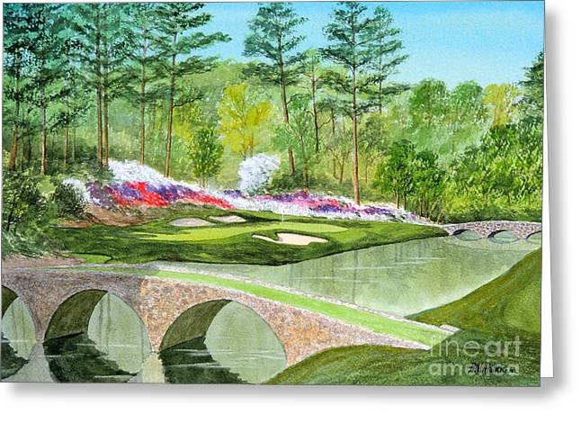 Golf Tournaments Greeting Cards - Augusta National Golf Course 12th Hole Greeting Card by Bill Holkham