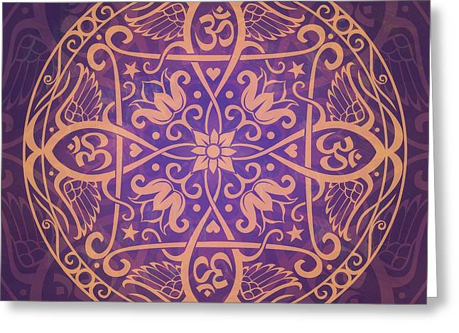 Purple Floral Greeting Cards - Aum Awakening Mandala Greeting Card by Cristina McAllister