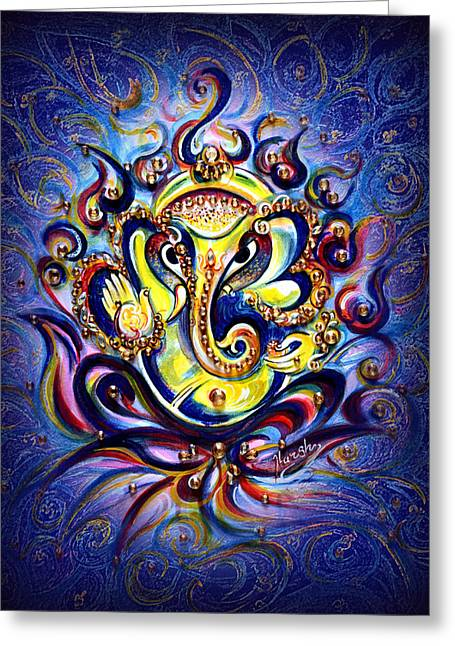 Aum Ganesha - Bliss Greeting Card by Harsh Malik