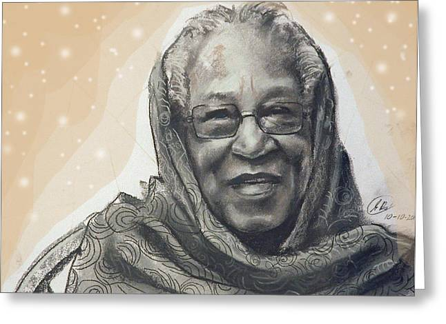 African-american Drawings Greeting Cards - Aunt Irene Greeting Card by Gary Williams