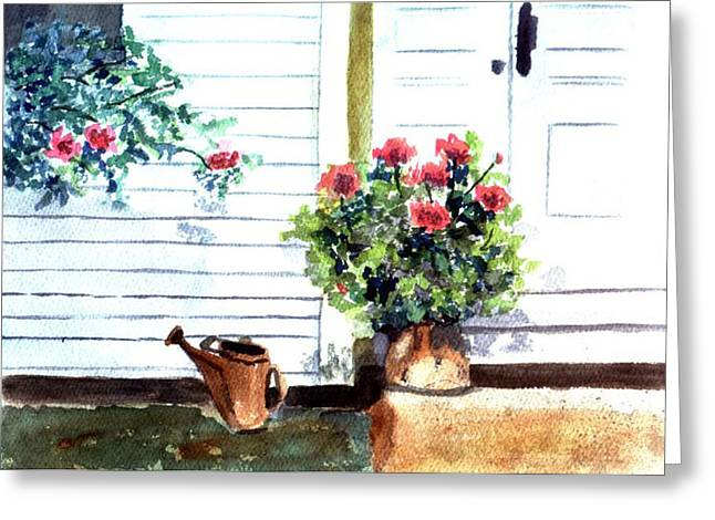Clapboard House Paintings Greeting Cards - Aunties Porch Greeting Card by Jane Croteau