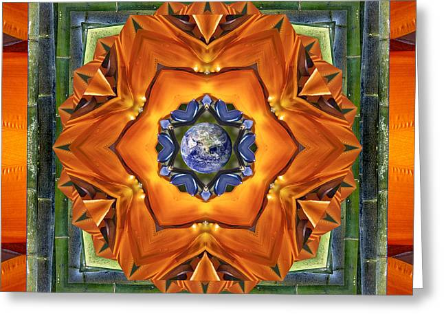Mandala Photographs Greeting Cards - Aura Bamboo Greeting Card by Bell And Todd