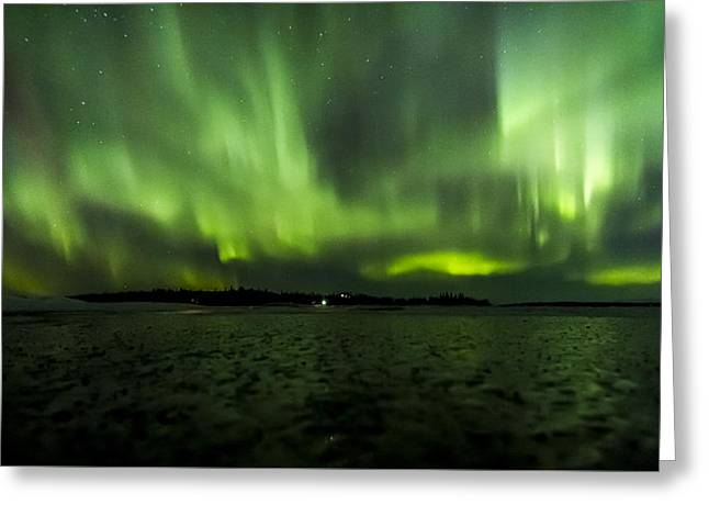 Northernlights Greeting Cards - Auroa Ice Field Greeting Card by Kyle Lavey