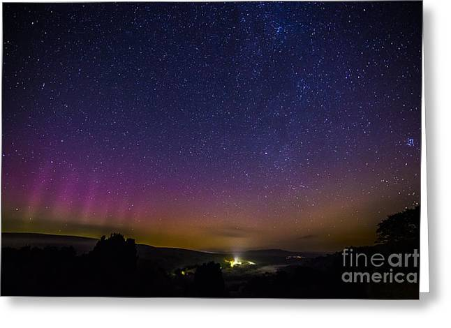 Constellations Greeting Cards - Aurora and Milky Way Greeting Card by Sandra Cockayne