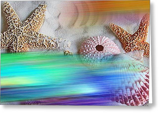 Sea Shell Mixed Media Greeting Cards - Aurora Greeting Card by Betty Butler