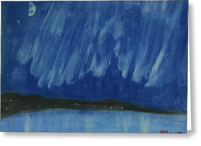 Sketchbook Pastels Greeting Cards - Aurora Borealis Above Grand Traverse Bay Greeting Card by Walter James Artist