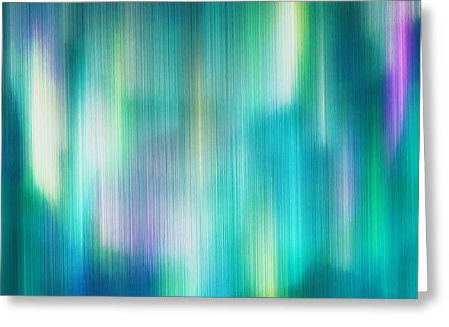 Win Paintings Greeting Cards - Aurora Borealis Abstract Greeting Card by Lourry Legarde