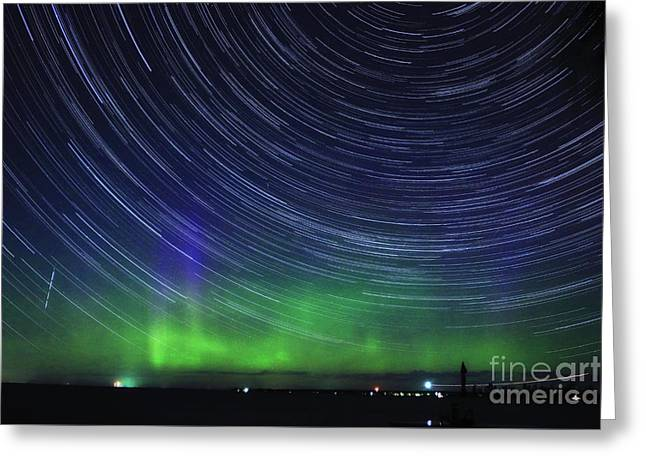 Aurora Lake Greeting Cards - Aurora Borealis and Star Trails Greeting Card by Charline Xia