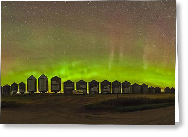 Grain Bin Greeting Cards - Aurora Borealis Behind Grain Bins Greeting Card by Alan Dyer