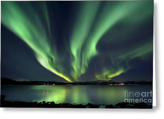 Idyllic Greeting Cards - Aurora Borealis Over Tjeldsundet Greeting Card by Arild Heitmann