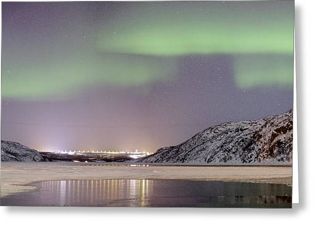 Astro Images Greeting Cards - Aurora light panorama Greeting Card by Roy Haakon Friskilae