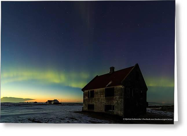 Northernlights Greeting Cards - Aurora over sunset. Greeting Card by Kjartan Gudmundur