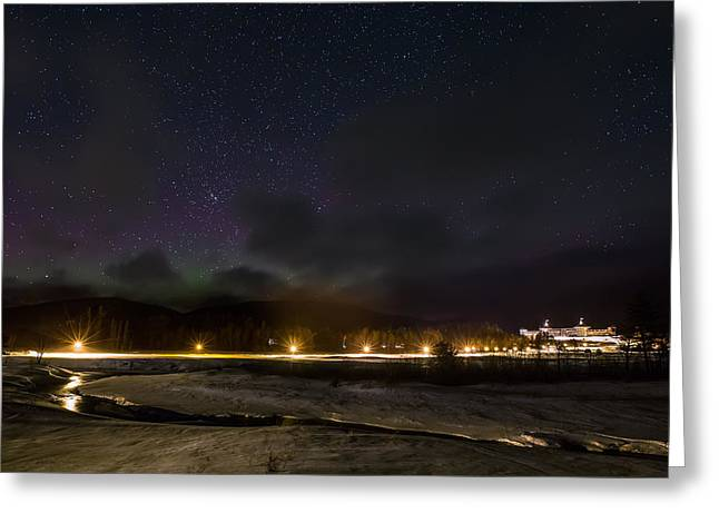 The Mount Washington Hotel Greeting Cards - Aurora over the Omni Mount Washington Resort Greeting Card by Christopher Whiton