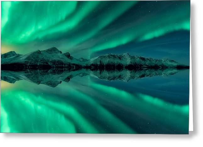 Winter Night Greeting Cards - Aurora Square 2 Greeting Card by Tor-Ivar Naess