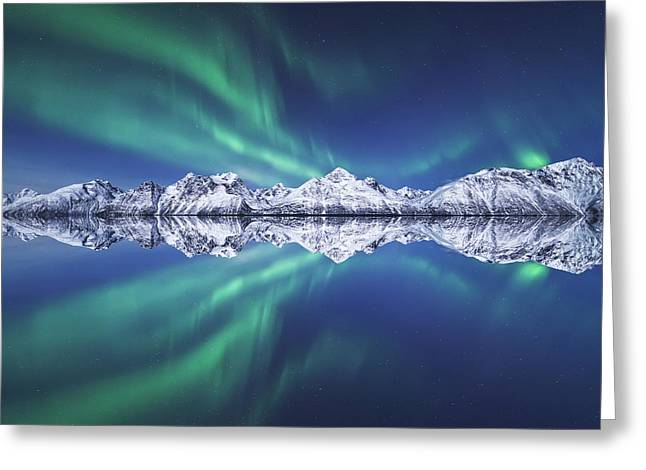 Mirrored Greeting Cards - Aurora Square Greeting Card by Tor-Ivar Naess