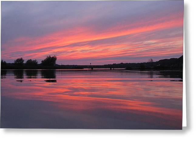 Reflections Of Sky In Water Greeting Cards - Auroras Over Pentwater  Greeting Card by Jane Greiner