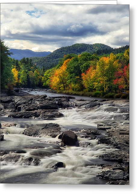 Colorful Cloud Formations Greeting Cards - Ausable River Jay NY Greeting Card by Mark Papke