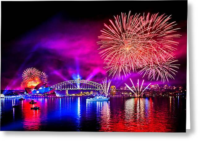 Firework Greeting Cards - Aussie Celebrations Greeting Card by Az Jackson