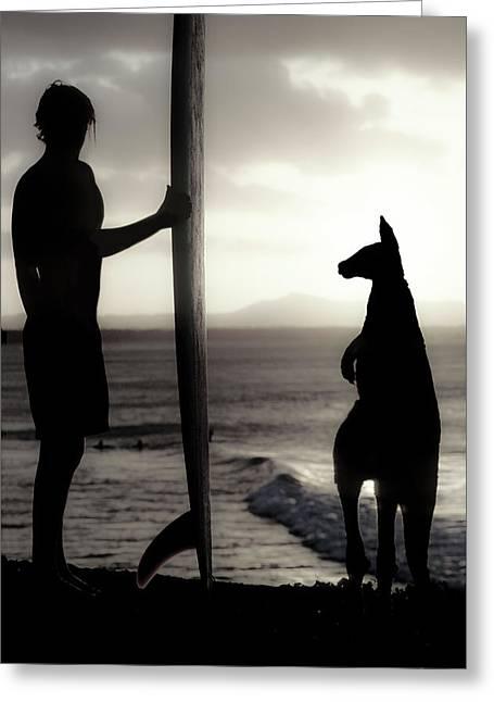 Aussie Surf Silhouettes Greeting Card by Sean Davey