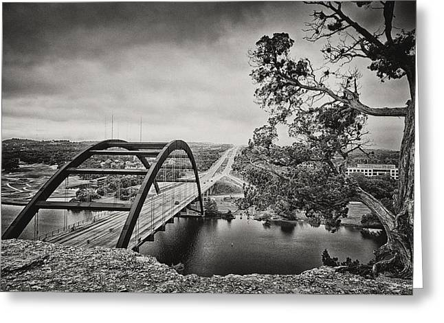 Bridge In Capitol Of Tx Greeting Cards - Austin 360 Bridge in Early Dawn Greeting Card by Lisa  Spencer
