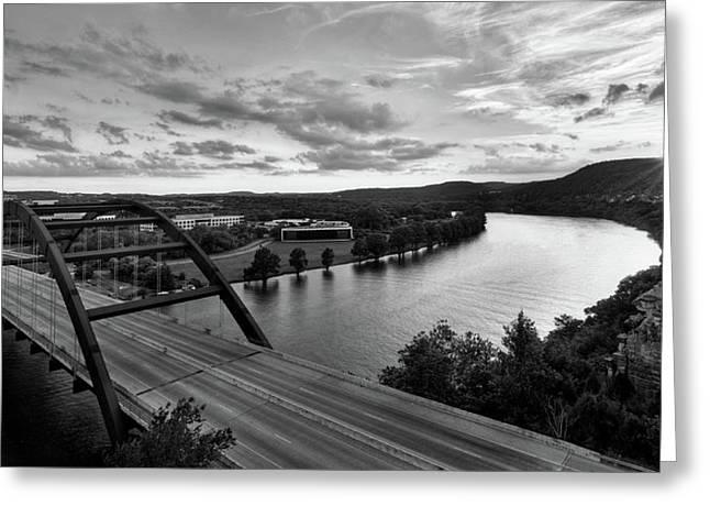 Austin 360 Pennybacker Bridge Sunset Greeting Card by Todd Aaron