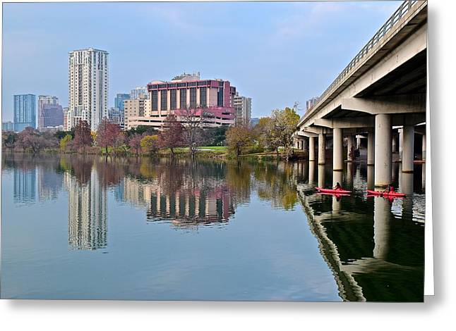 Austin Across Lady Bird Lake Greeting Card by Frozen in Time Fine Art Photography
