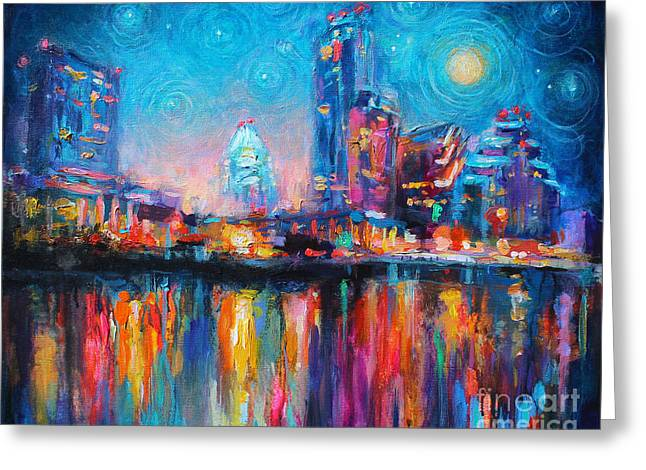 Night Life Greeting Cards - Austin Art impressionistic skyline painting #2 Greeting Card by Svetlana Novikova