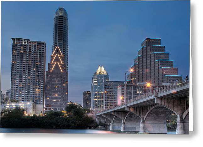 Austin. Bats Greeting Cards - Austin at Dusk - Congress street bridge in HDR Greeting Card by David Thompson