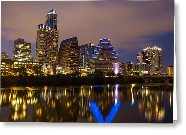 Austin At Night Greeting Cards - Austin At Night Greeting Card by Damon Shaw