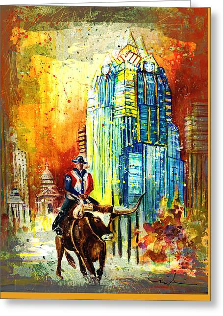 Frost Bank Building Greeting Cards - Austin Authentic Madness 01 Greeting Card by Miki De Goodaboom