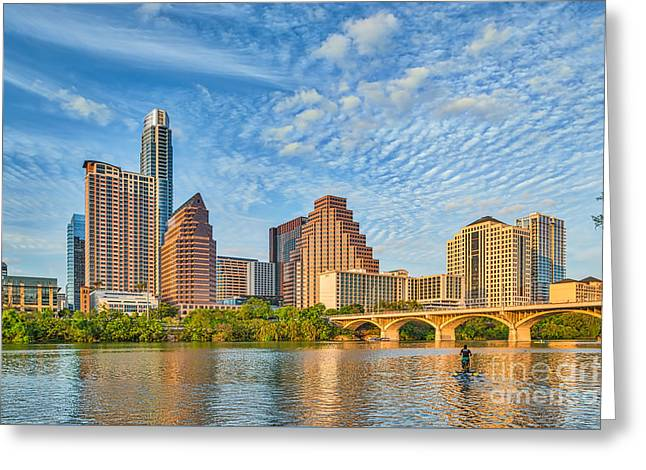 Austin. Bats Greeting Cards - Austin City View Greeting Card by Tod and Cynthia Grubbs