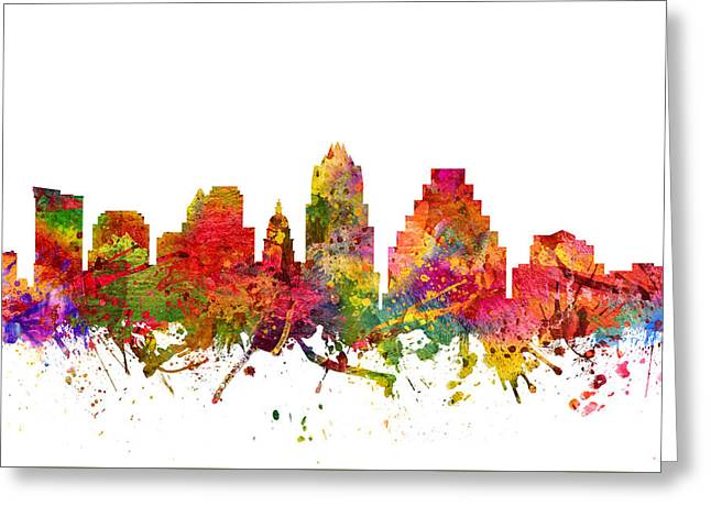 Austin Cityscape 08 Greeting Card by Aged Pixel