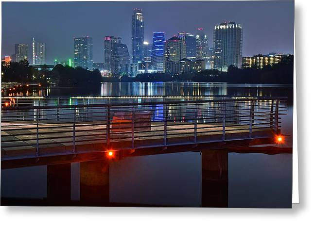 Austin From Lady Bird Lake Walkway Greeting Card by Frozen in Time Fine Art Photography