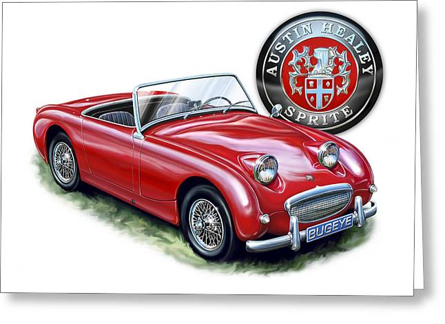 Austin Healey Bugeye Sprite Red Greeting Card by David Kyte