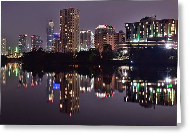 Austin Lights Up Lady Bird Lake Greeting Card by Frozen in Time Fine Art Photography