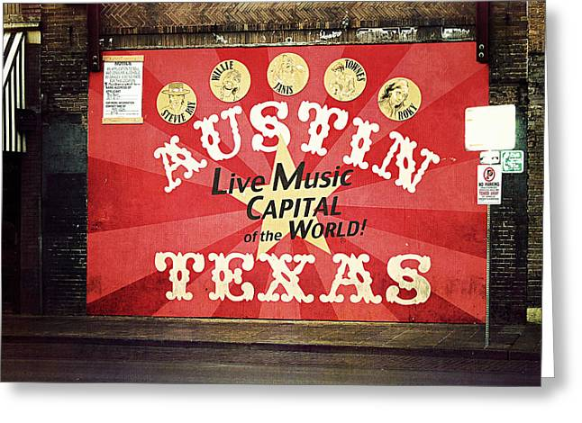 Awning Photographs Greeting Cards - Austin Live Music Greeting Card by Trish Mistric