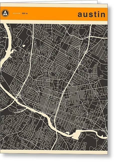 Austin Map Greeting Card by Jazzberry Blue